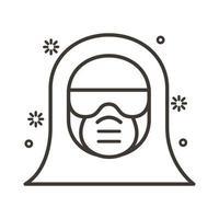icône de style de ligne de costume de biosécurité