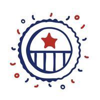 drapeau usa cadre circulaire style ligne vector illustration design