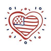 coeur avec style de ligne de drapeau usa