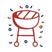 icône de style de ligne gril four vecteur