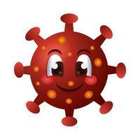 caractère émoticône heureux de particules covid19 vecteur