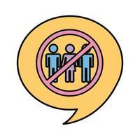 panneau d'avertissement pour éviter les foules dans la bulle de dialogue