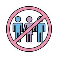 panneau d'avertissement pour éviter les foules