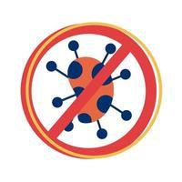 particule covid 19 avec style plat de symbole refusé