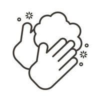 icône de style de ligne de lavage des mains vecteur