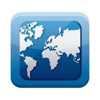 Icône isolé du menu du bouton monde planète app vecteur