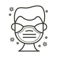 homme utilisant l'icône de style de ligne masque facial