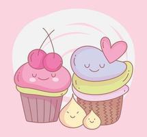 cupcakes sucrés avec menu de fruits restaurant nourriture mignon vecteur