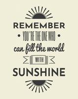 Affiche typographique d'art mural de citation de soleil