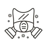 icône de style de ligne de masque de biosécurité