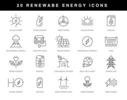 jeu d'icônes d'énergie renouvelable vecteur