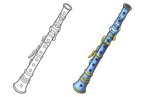 page de coloriage de dessin animé de flûte pour les enfants vecteur