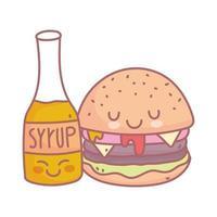 menu de caractère burger et sirop restaurant nourriture mignon