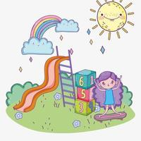bonne fête des enfants, petite fille avec toboggan et parc