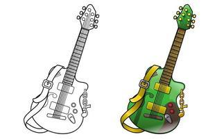 Coloriage de dessin animé de guitare pour les enfants vecteur