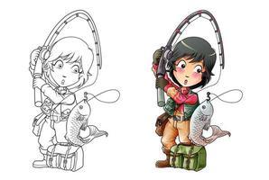Coloriage de dessin animé de pêche pour les enfants vecteur