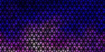 toile de fond de vecteur rose clair, bleu avec des lignes, des triangles