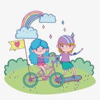 bonne fête des enfants, mignon garçon et fille à vélo et planche à roulettes dans le parc vecteur
