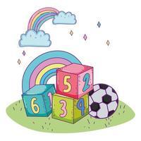 bonne fête des enfants, blocs de nombres parc de jouets de ballon de football