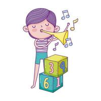 bonne fête des enfants, garçon jouant avec trompette musicale dans le parc vecteur