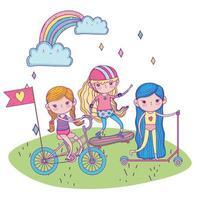 bonne journée des enfants, petites filles avec vélo scooter et planche à roulettes dans le parc