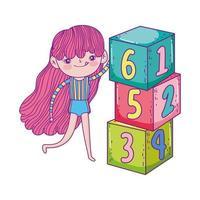 bonne fête des enfants, jolie fille avec parc de blocs de nombres