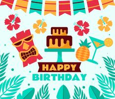 Vecteur de fête d'anniversaire tropicale