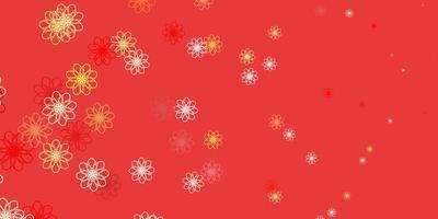 fond de doodle vecteur rouge et jaune clair avec des fleurs.