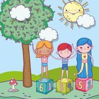bonne fête des enfants, garçon et filles sur le parc de blocs vecteur