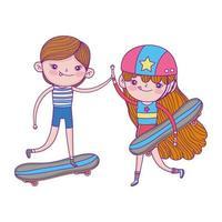 bonne fête des enfants, mignon garçon et fille avec planche à roulettes dans l'herbe