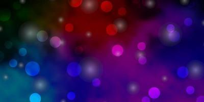 texture de vecteur multicolore sombre avec des cercles, des étoiles.