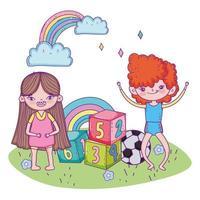 bonne fête des enfants, garçon et fille avec des blocs de numéros de balle vecteur