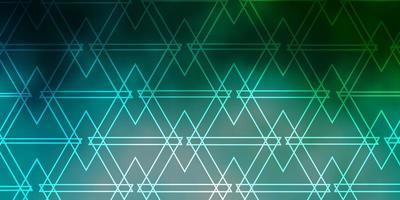 toile de fond de vecteur bleu clair, vert avec des lignes, des triangles.