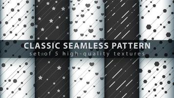 ensemble de motifs noir et blanc sans couture mignon classique