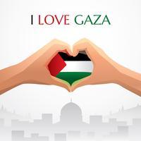 J'aime le vecteur de Gaza