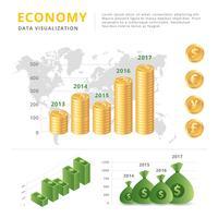 Vecteur de visualisation de données d'économie