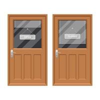 porte de magasin avec illustration de conception de vecteur de signe ouvert et fermé isolé sur fond blanc
