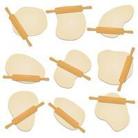 Rouleau à pâtisserie en bois sur l'illustration de conception de vecteur de pâte isolé sur fond blanc