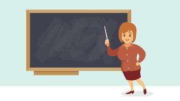 Professeur de femme devant la classe vecteur