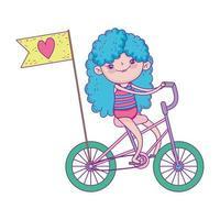 bonne fête des enfants, petit vélo avec dessin animé amour drapeau vecteur