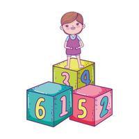 bonne fête des enfants, petit garçon debout sur la caricature de cubes
