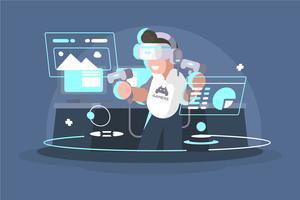 Illustration de l'expérience de réalité virtuelle vecteur