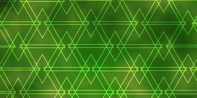 toile de fond de vecteur vert clair avec des lignes, des triangles.