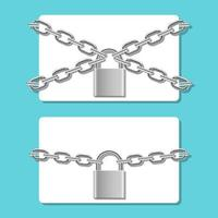 Carte de crédit en chaîne verrouillée avec illustration de conception de vecteur de cadenas isolé sur fond