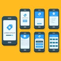 Modèle de vecteur d'application mobile plat gui