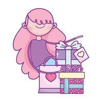 bonne saint valentin, fille avec des cadeaux et célébration du sac à provisions