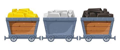 illustration de conception de vecteur de chariot de mine isolé sur fond blanc