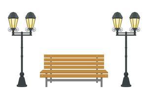 illustration de conception de vecteur de banc de parc isolé sur fond blanc