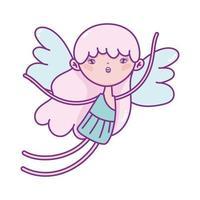bonne saint valentin, cupidon avec personnage de dessin animé ailes