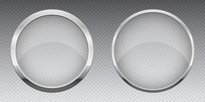Bannière en verre transparent avec illustration de conception de vecteur de cadre métallique isolé sur fond
